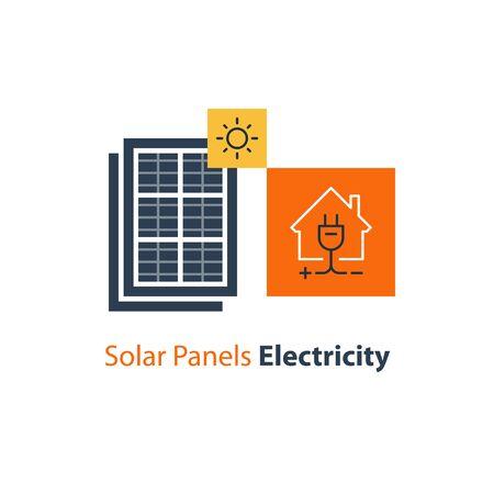 Solar panel and house with plug, autonomous electricity, source of energy, flat design illustration Illustration