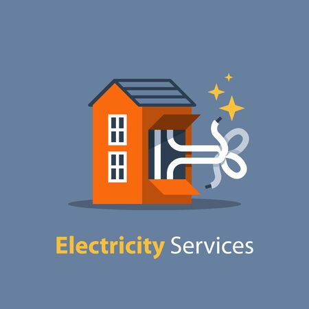 Electricity repair and maintenance services, house with knot of wires, vector illustration