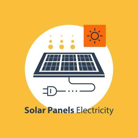 Solar panel with plug and sun icon, autonomous electricity, source of energy, flat design illustration Illustration