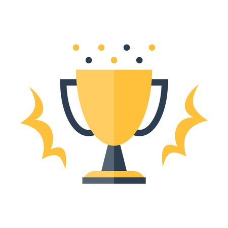 Shiny yellow winner cup, competition award, top performance, best result, vector flat design illustration 일러스트