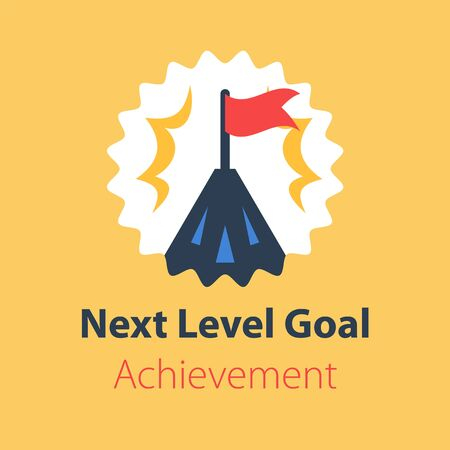 Long term goal, mountain summit with flag, way to success, next level aim, higher achievement, vector flat design