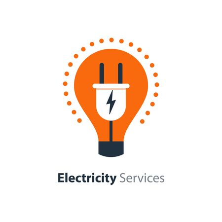 Electricity repair and maintenance services, light bulb and plug, electric safety, flat design illustration