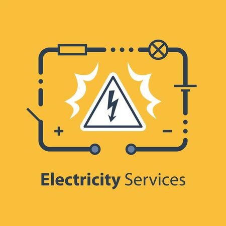 Electricity Circuit And High Voltage Sign, Repair And