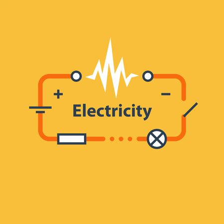 Electricity circuit, repair and maintenance services, electric chain, vector illustration
