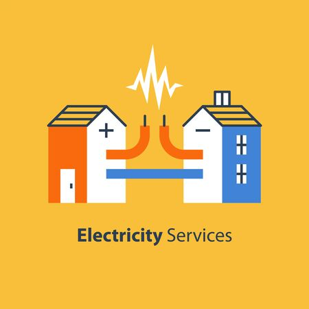 Electricity repair and maintenance services, house with cable connection, vector illustration