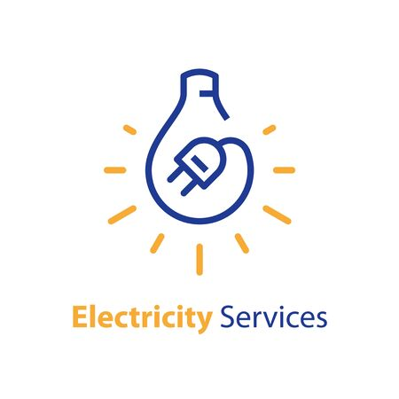 Electricity repair and maintenance services, light bulb and plug, electric safety, linear design illustration Stock Illustratie