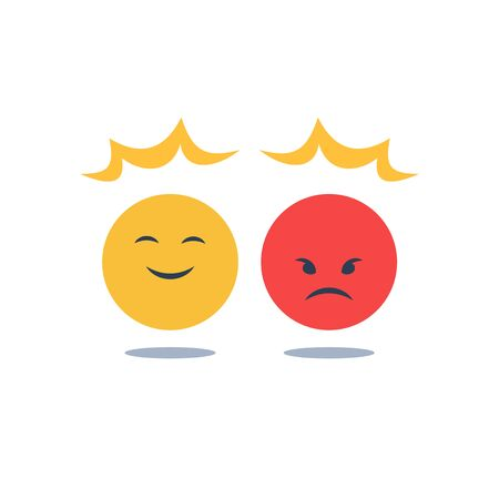 Negative or positive reaction, good or bad attitude, bias thinking, opposite social opinion, customer service, mood swing, emotion disorder and control, smile or angry emoji, vector flat design