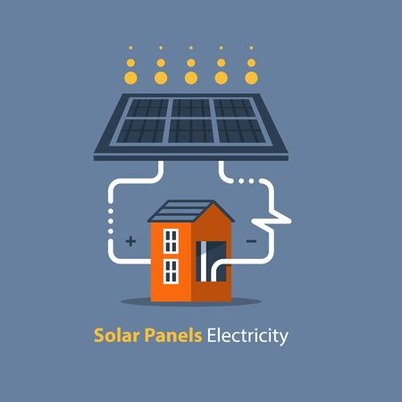Solar panel and house, autonomous electricity, source of energy, flat design illustration Stock Illustratie