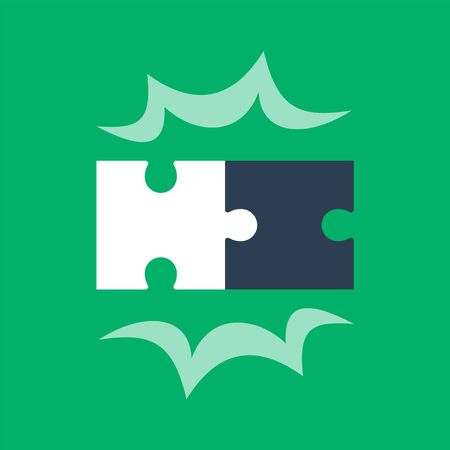 Puzzle pieces, two jigsaw together, simple combination, solution concept, vector flat illustration