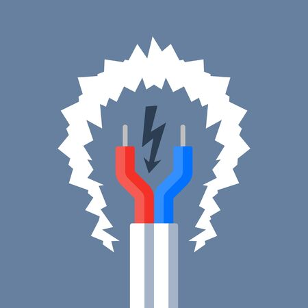 Electricity repair and maintenance services, bare cable with couple of red and blue wires, electric safety, flat design illustration
