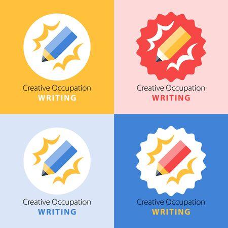Creative writing, storytelling concept, graphic design workshop, skill improvement, vector flat illustration