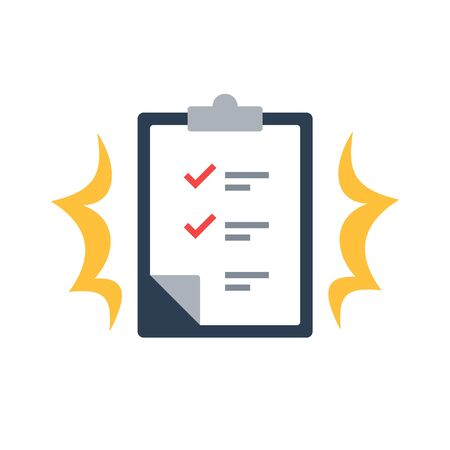 Task management check list, efficient work, project plan, fast progress, level up concept, short questionnaire, opinion survey, assignment and exam, productivity solution, vector flat icon