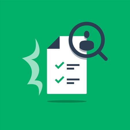 Human resources, recruitment service, choose candidate, fill vacancy, employment concept, application form review, staff search, questionnaire check list, vector flat design illustration