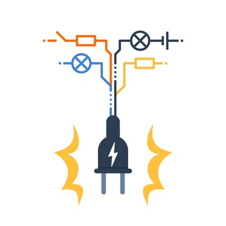 Electricity circuit, repair and maintenance services, plug with electrical scheme, vector illustration Stock Illustratie