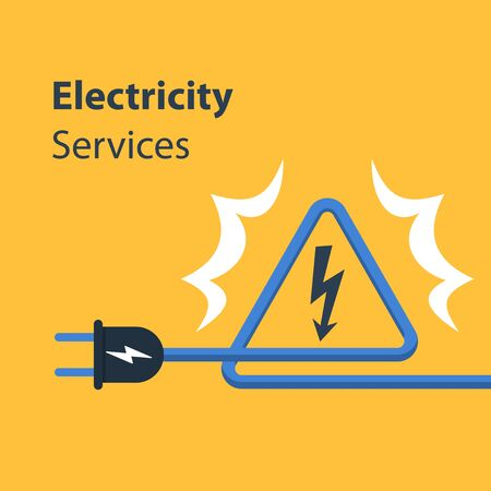 Electricity wires and high voltage sign, repair and maintenance services, vector illustration
