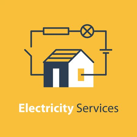 Electricity circuit, repair and maintenance services, house with electrical loop, vector illustration Stock Illustratie