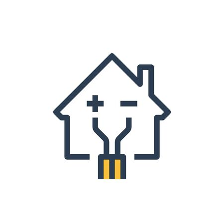 Electricity repair and maintenance services, house with wire, electric safety, linear design illustration