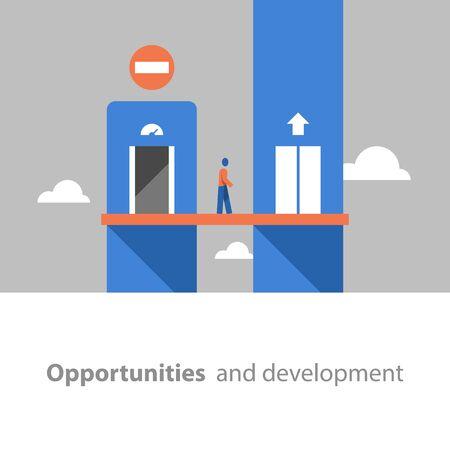 Self improvement, personal growth, career lift, way to success, job training, potential development, vector flat illustration Иллюстрация