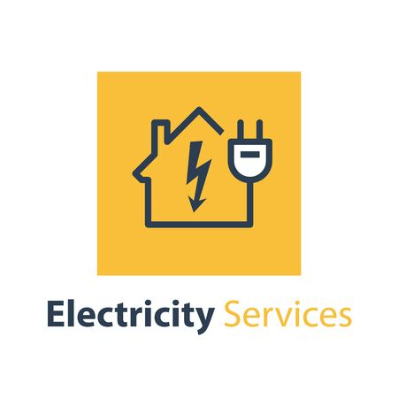 Electricity repair and maintenance services, house with high voltage arrow and plug, electric safety, linear design illustration Çizim