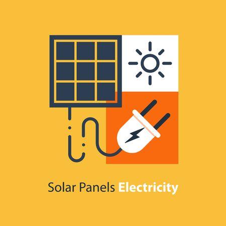 Solar panel and plug, autonomous electricity, source of energy, flat design illustration