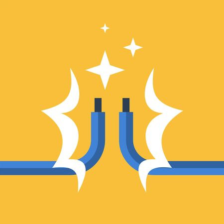 Electricity repair and maintenance services, two bare wires, vector illustration