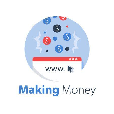Earn money online, pay per click, cash back website, advertisement revenue, internet business and finance, digital wallet, vector flat illustration Imagens - 129069605