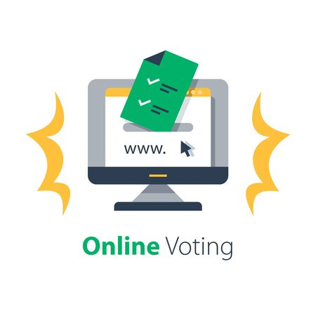 Internet voting, submit online, government services, document with check mark, upload file, vector flat illustration