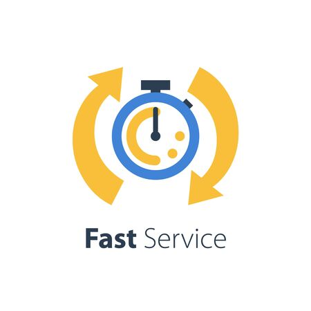Fast time, stop watch speed, quick delivery, express and urgent services, deadline and delay, vector icon, flat illustration