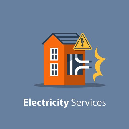 Electricity repair and maintenance services, house with high voltage sign and broken wires, electric safety, flat design illustration