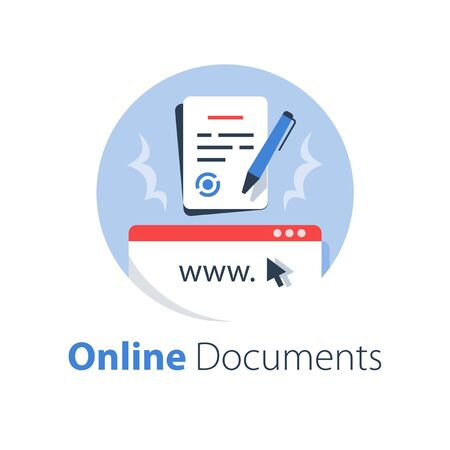 Online government services, submit document, legal contract formation, terms and conditions, digital signature, vector flat illustration