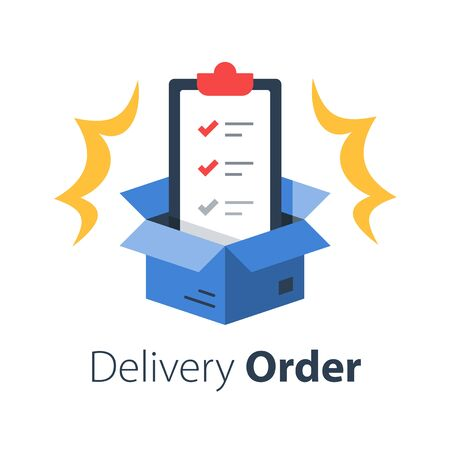 Delivery services, insurance policy, terms and conditions, clipboard and open box, shipment check list, parcel distribution, vector flat illustration Stock Illustratie