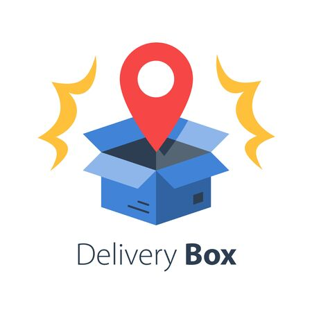 Shop order delivery, open box and location pin, tracking box, receive postal parcel, pick up point, distribution service, vector flat illustration Zdjęcie Seryjne - 129070299