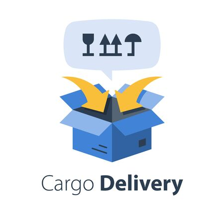 Cargo packing and distribution, relocation services, freight transportation, cargo shipment, delivery company, vector flat illustration