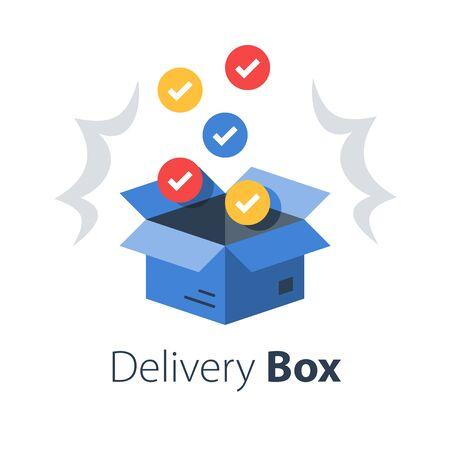 Shop purchase delivery, open order package, multiple set of articles, wholesale products, receive postal parcel, unpack surprise box, vector flat illustration Illustration