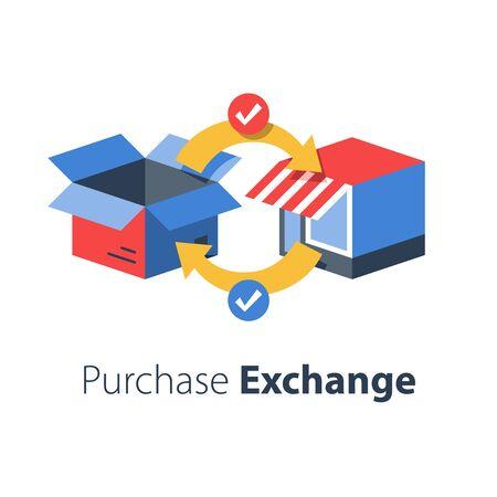 Shop-Lieferung, Paket empfangen, Abholpunkt, Bestellung zurückgeben, Produktaustausch, Kauf zurücksenden, flache Vektorgrafik
