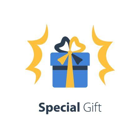 Blue box with ribbon, surprise shiny gift, special reward, prize giveaway, loyalty present, bonus program, vector flat design illustration