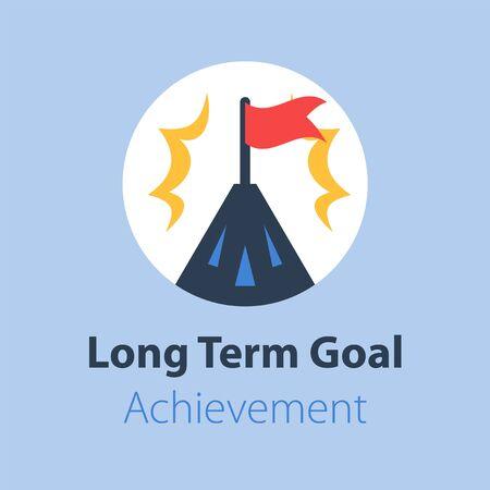 Objectif à long terme, sommet de la montagne avec drapeau, chemin vers le succès, objectif de niveau supérieur, réalisation plus élevée, conception vectorielle à plat Vecteurs