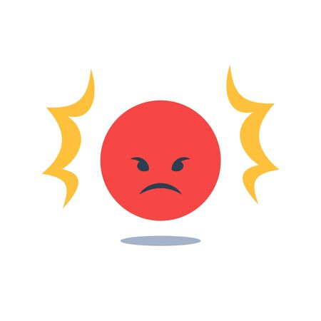 Negative thinking, bad experience feedback, unhappy client or difficult customer, service quality, angry red face, mad emoticon, hate and furious, vector icon, flat design illustration