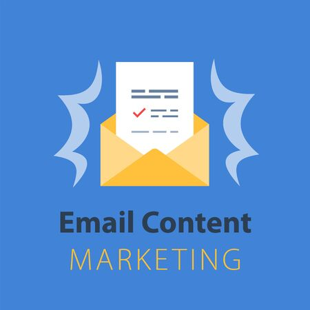Email marketing strategy, newsletter concept, opened envelope, writing letter, news summary, vector icon, flat illustration