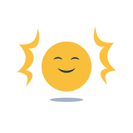 Positive thinking, good experience feedback, happy client, optimism attitude, enjoy yourself, smiling yellow emoji, vector flat design illustration Çizim