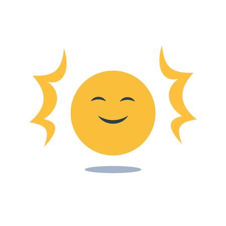 Positive thinking, good experience feedback, happy client, optimism attitude, enjoy yourself, smiling yellow emoji, vector flat design illustration Illustration