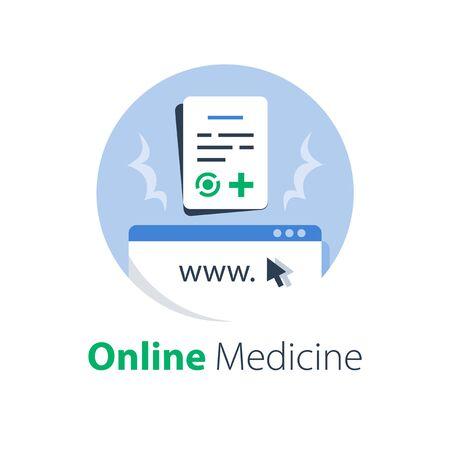 Online medicine, internet medical services, web registration, distant check up and sick leave list, certificate form, test results access, vector flat illustration