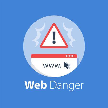 Online danger alert, internet security, safe usage, web protection, fraud website, vector flat illustration