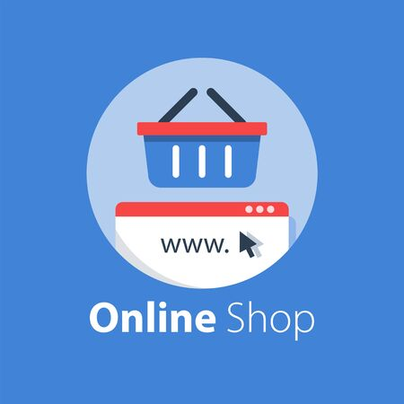 Online shopping, internet purchase, grocery basket, vector flat illustration