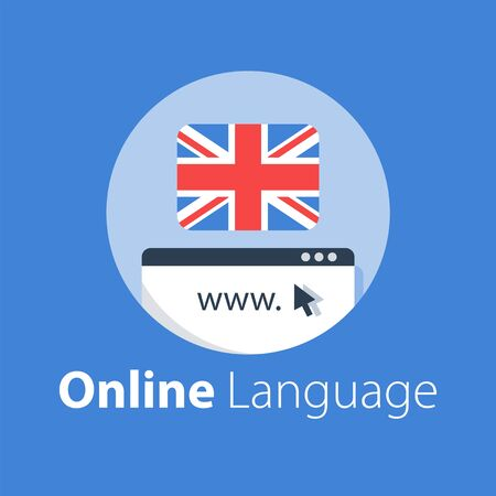Online language learning, linguistic courses, distant education, internet dictionary, skill improvement, vector flat illustration