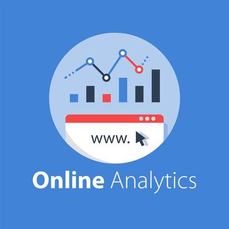 Online analytics, web statistic, internet big data, website usage report, vector flat illustration Illusztráció