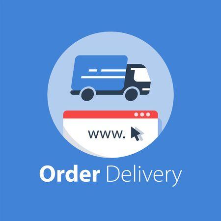 Online shopping, courier delivery, distribution services, online order, rental truck, vector flat design illustration