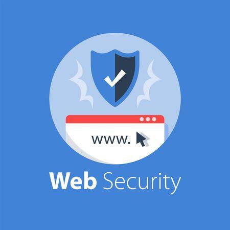 Online security, safe internet access, antivirus software, data protection, web technology, vector flat illustration