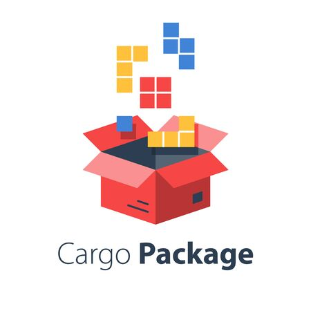 Logistics services, assemble parcel, multiple shop order, pack large set of items in box, store purchase shipment, vector flat illustration