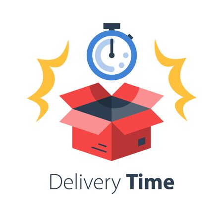 Delivery time, fast shipment, stopwatch and open box, postal parcel waiting period, timely distribution, courier service, vector flat illustration